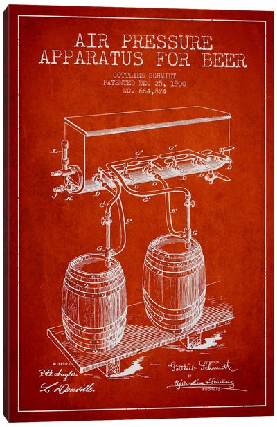 Beer Apparatus Red Patent Blueprint Canvas Art Print