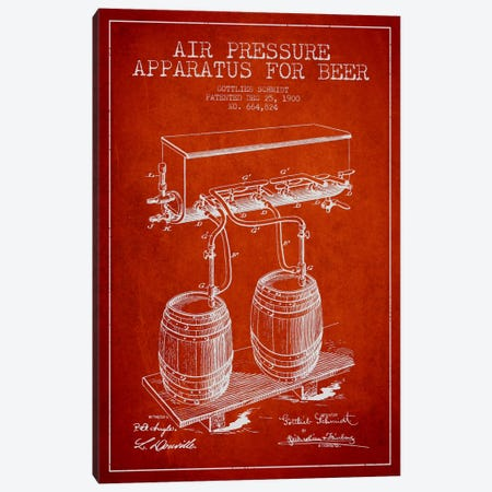 Beer Apparatus Red Patent Blueprint 3-Piece Canvas #ADP667} by Aged Pixel Canvas Wall Art