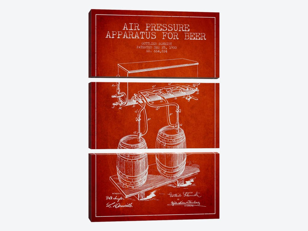 Beer Apparatus Red Patent Blueprint by Aged Pixel 3-piece Canvas Wall Art