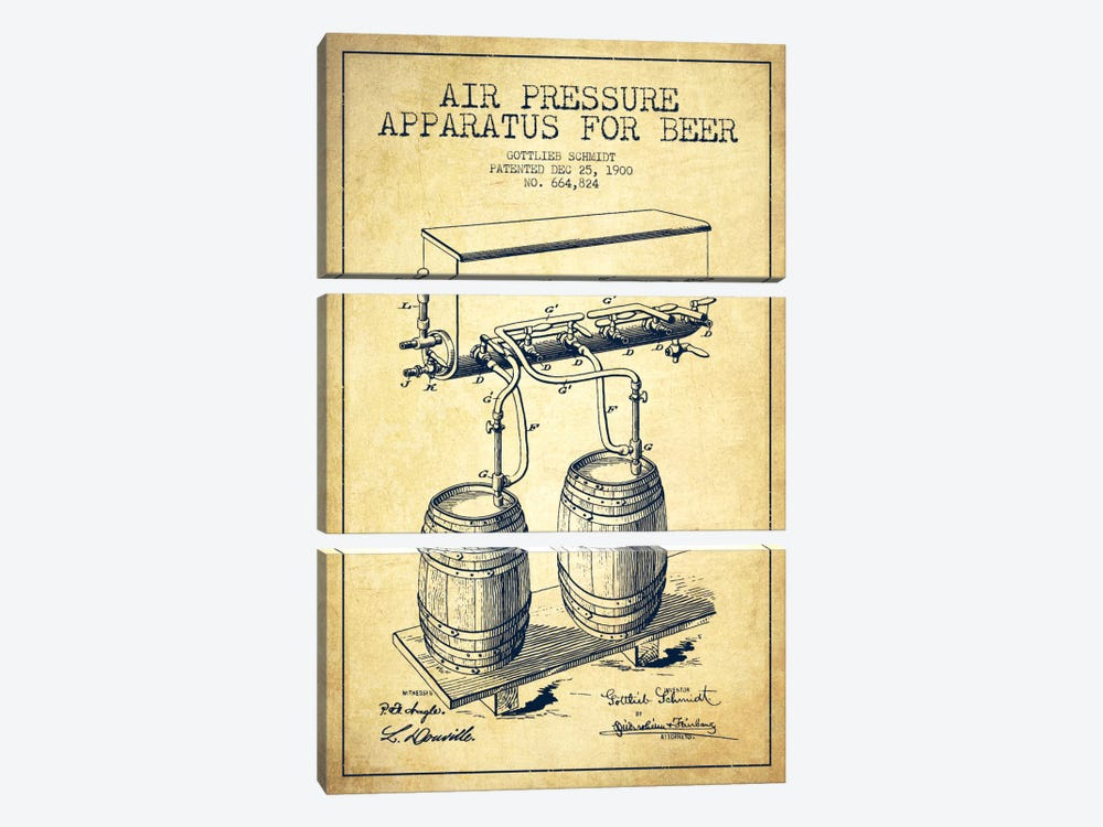 Beer Apparatus Vintage Patent Blueprint by Aged Pixel 3-piece Art Print