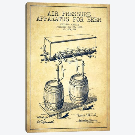 Beer Apparatus Vintage Patent Blueprint Canvas Print #ADP668} by Aged Pixel Art Print