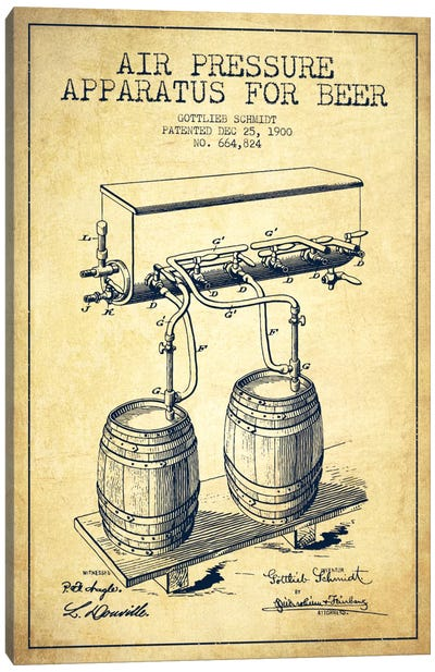Beer Apparatus Vintage Patent Blueprint Canvas Art Print