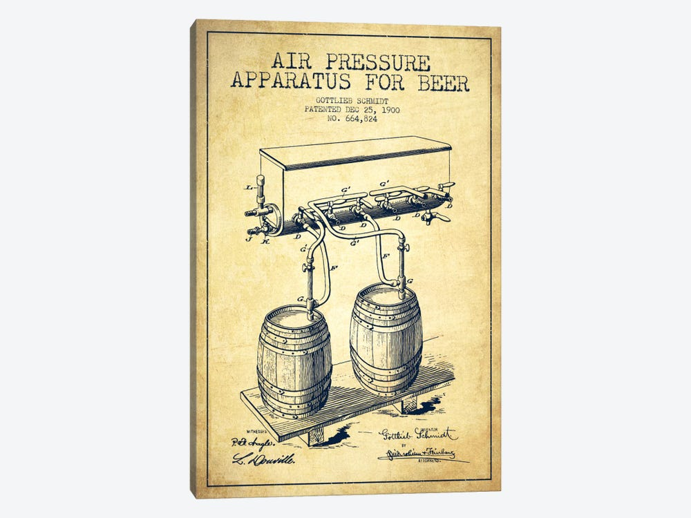 Beer Apparatus Vintage Patent Blueprint by Aged Pixel 1-piece Canvas Art Print