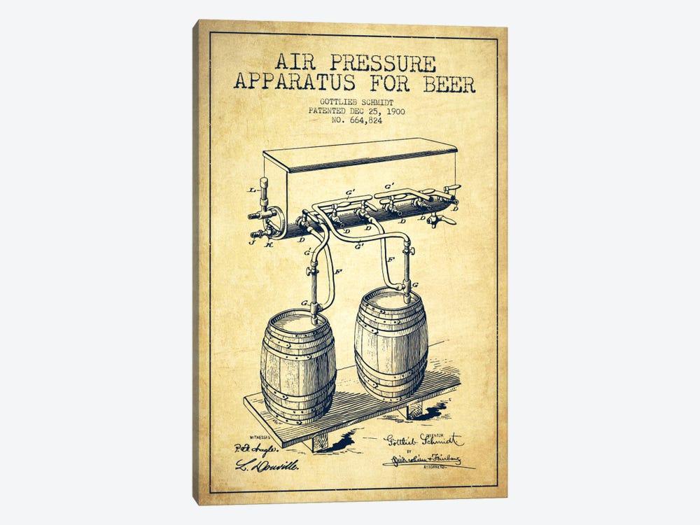Beer Apparatus Vintage Patent Blueprint by Aged Pixel 1-piece Canvas Art Print