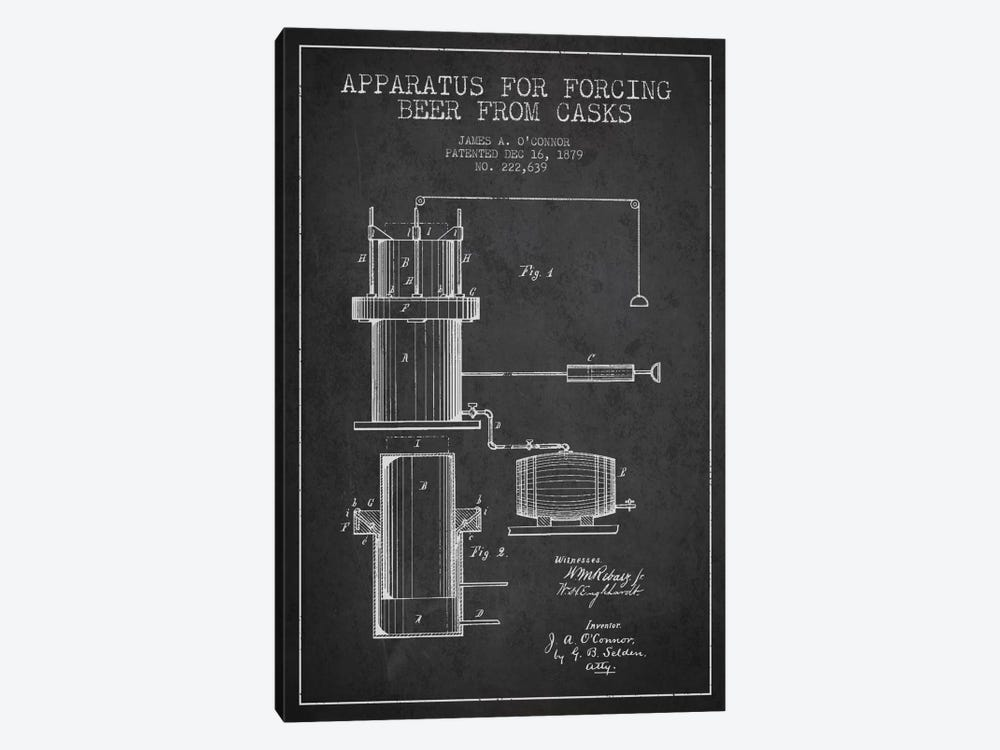 Beer Apparatus Charcoal Patent Blueprint by Aged Pixel 1-piece Canvas Art