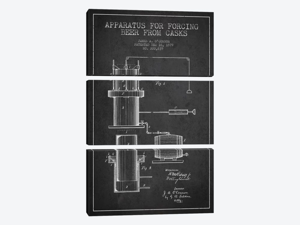 Beer Apparatus Charcoal Patent Blueprint by Aged Pixel 3-piece Canvas Art