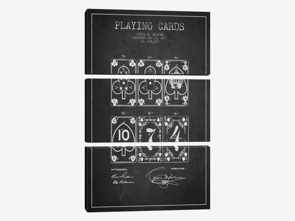 Saladee Cards Dark Patent Blueprint by Aged Pixel 3-piece Canvas Print
