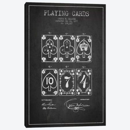 Saladee Cards Dark Patent Blueprint Canvas Print #ADP66} by Aged Pixel Canvas Print