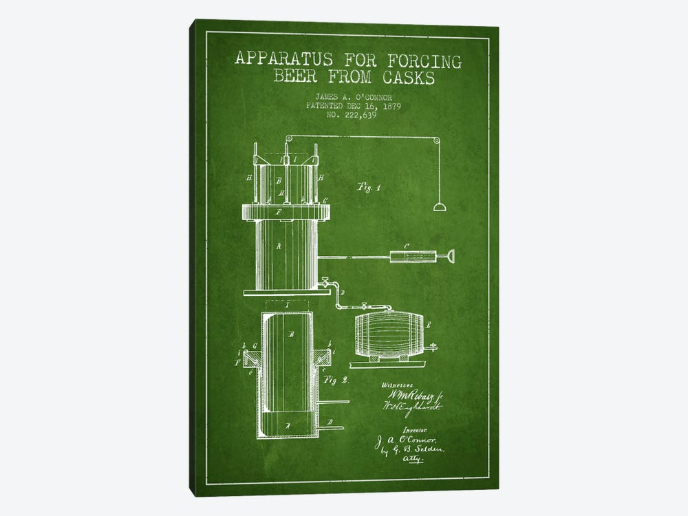 Beer Apparatus Green Patent Blueprint by Aged Pixel 1-piece Canvas Artwork