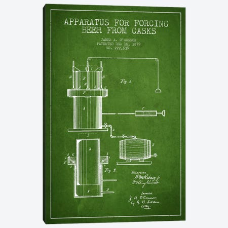 Beer Apparatus Green Patent Blueprint Canvas Print #ADP670} by Aged Pixel Canvas Artwork