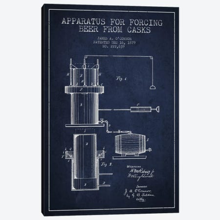 Beer Apparatus Navy Blue Patent Blueprint Canvas Print #ADP671} by Aged Pixel Canvas Art