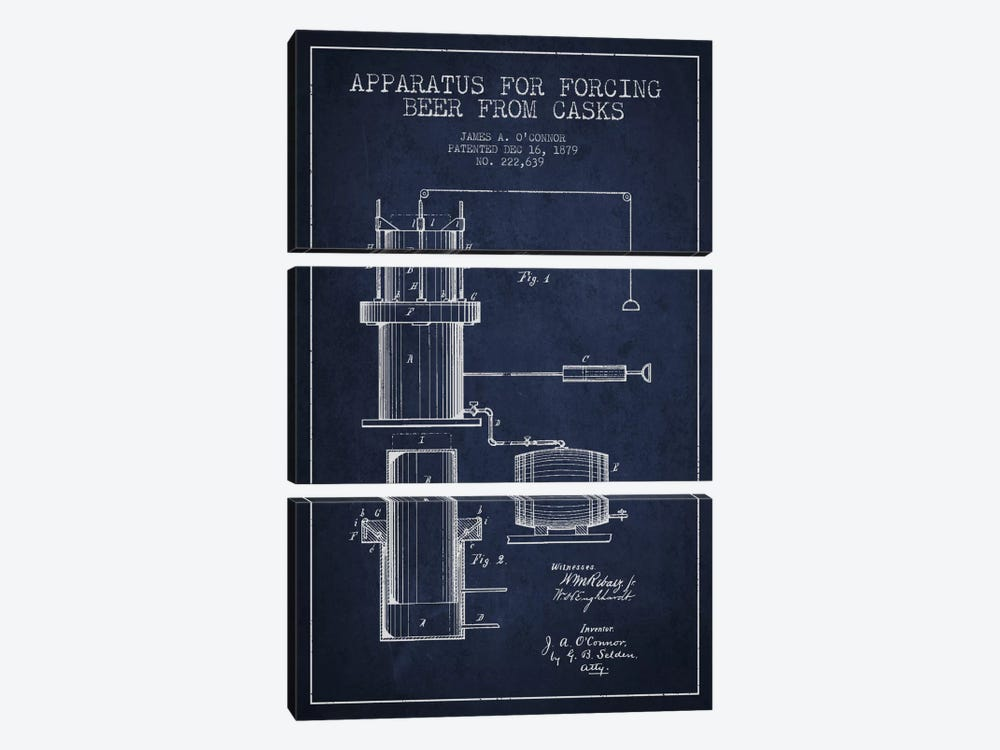 Beer Apparatus Navy Blue Patent Blueprint by Aged Pixel 3-piece Art Print