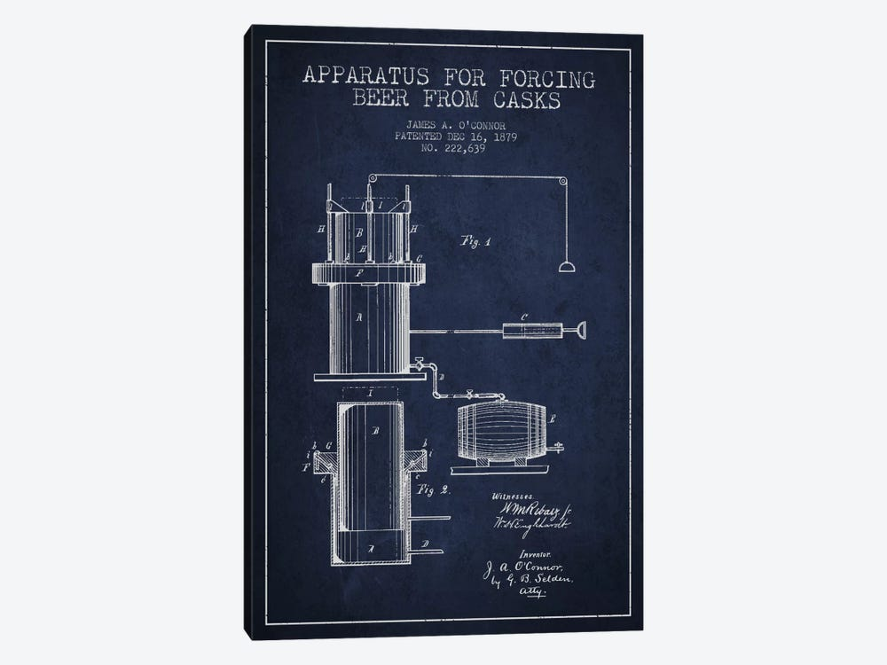 Beer Apparatus Navy Blue Patent Blueprint by Aged Pixel 1-piece Canvas Print