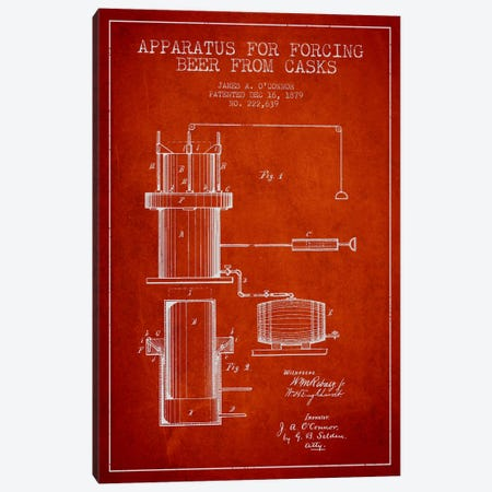 Beer Apparatus Red Patent Blueprint Canvas Print #ADP672} by Aged Pixel Canvas Art