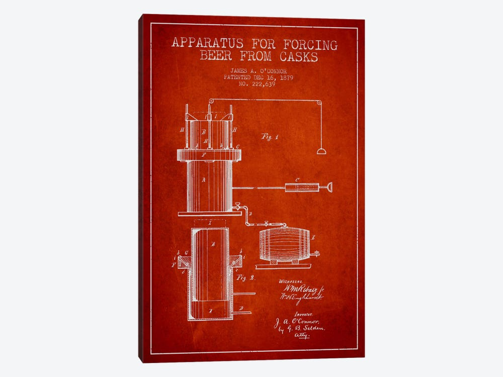 Beer Apparatus Red Patent Blueprint by Aged Pixel 1-piece Canvas Artwork