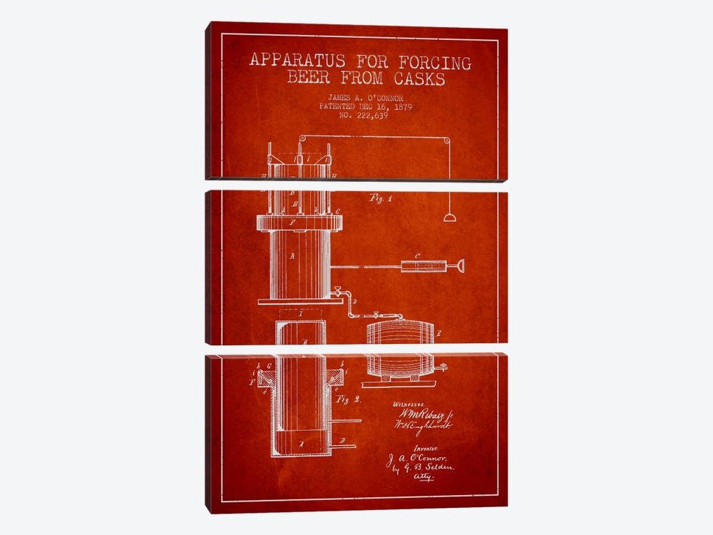 Beer Apparatus Red Patent Blueprint by Aged Pixel 3-piece Canvas Art