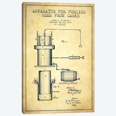 Beer Apparatus Vintage Patent Blueprint Canvas Print #ADP673} by Aged Pixel Canvas Artwork