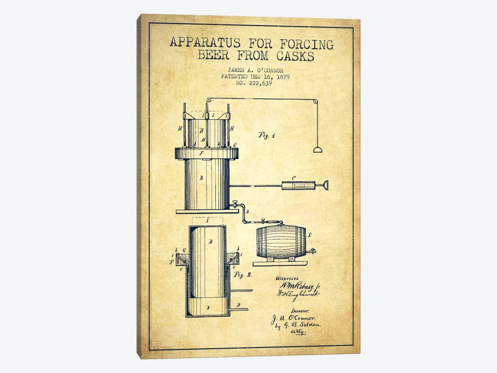 Beer Apparatus Vintage Patent Blueprint by Aged Pixel 1-piece Canvas Print
