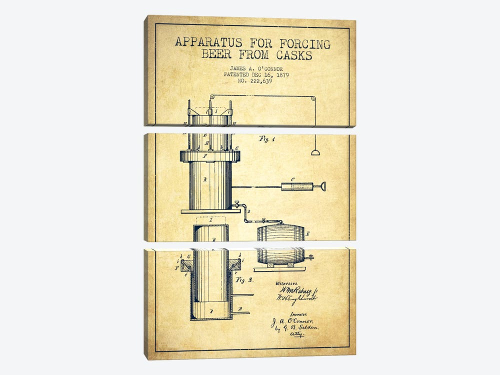 Beer Apparatus Vintage Patent Blueprint by Aged Pixel 3-piece Canvas Art Print