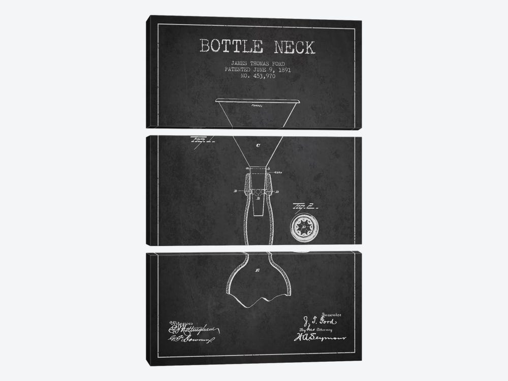 Beer Bottle Charcoal Patent Blueprint by Aged Pixel 3-piece Canvas Art