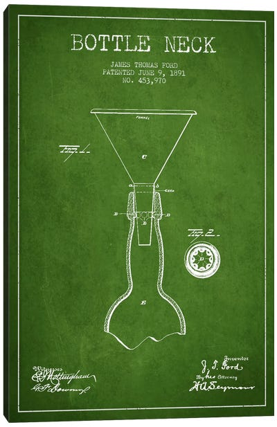 Beer Bottle Green Patent Blueprint Canvas Art Print