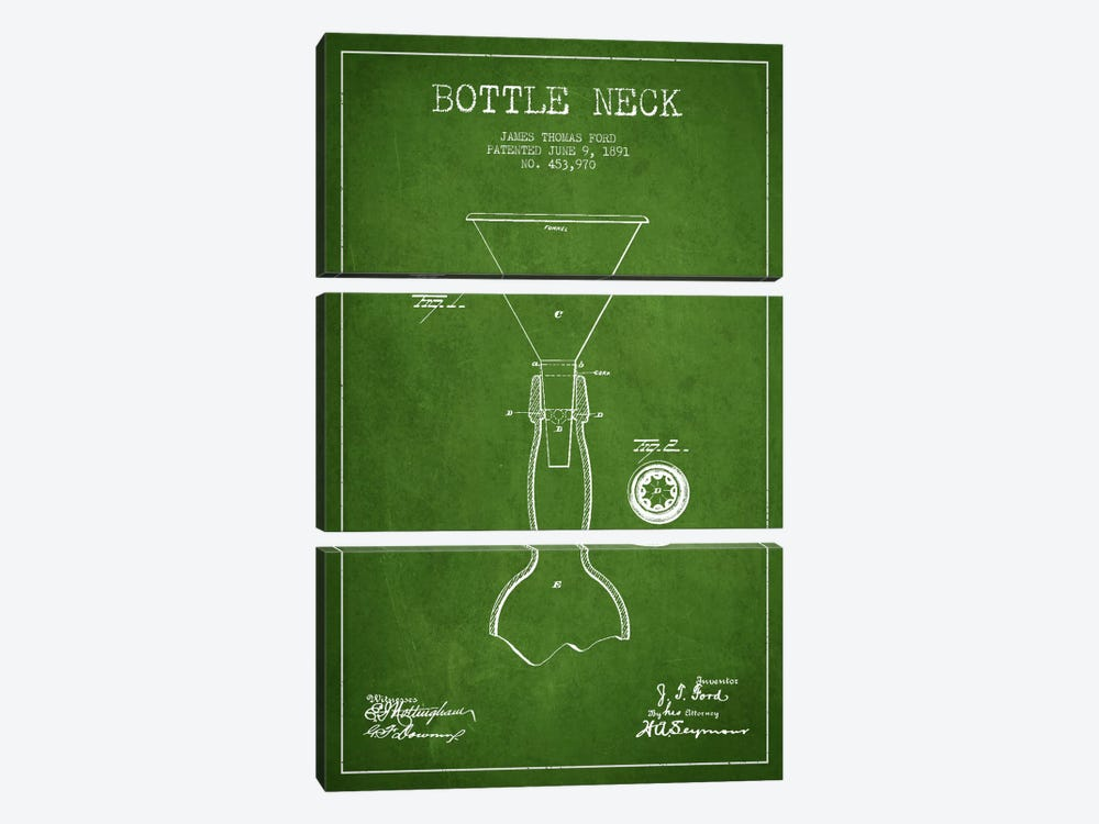 Beer Bottle Green Patent Blueprint by Aged Pixel 3-piece Canvas Art Print