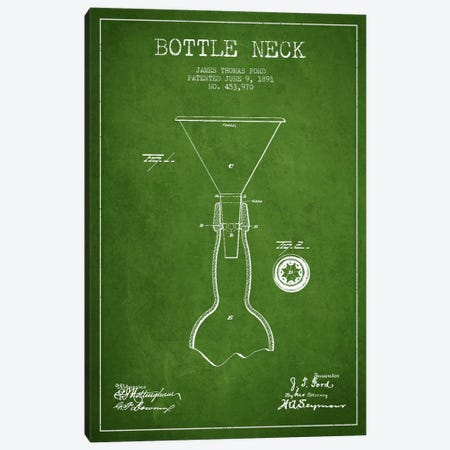 Beer Bottle Green Patent Blueprint 3-Piece Canvas #ADP675} by Aged Pixel Canvas Print