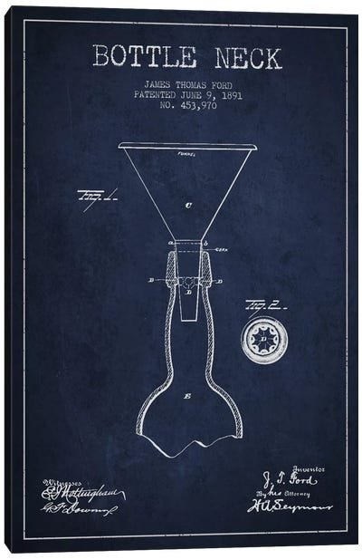 Beer Bottle Navy Blue Patent Blueprint Canvas Art Print