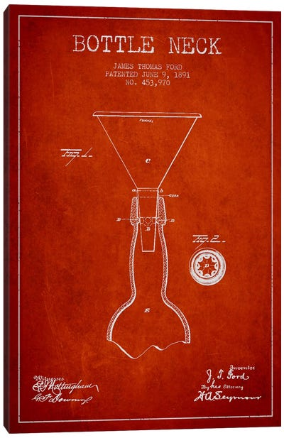 Beer Bottle Red Patent Blueprint Canvas Art Print