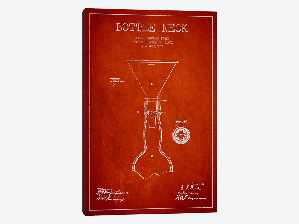 Beer Bottle Red Patent Blueprint by Aged Pixel 1-piece Canvas Art Print