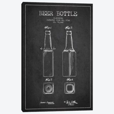 Beer Bottle Charcoal Patent Blueprint Canvas Print #ADP679} by Aged Pixel Canvas Wall Art