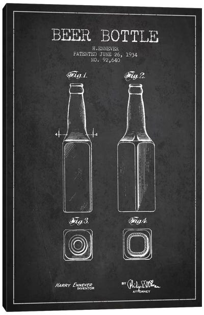 Beer Bottle Charcoal Patent Blueprint Canvas Art Print