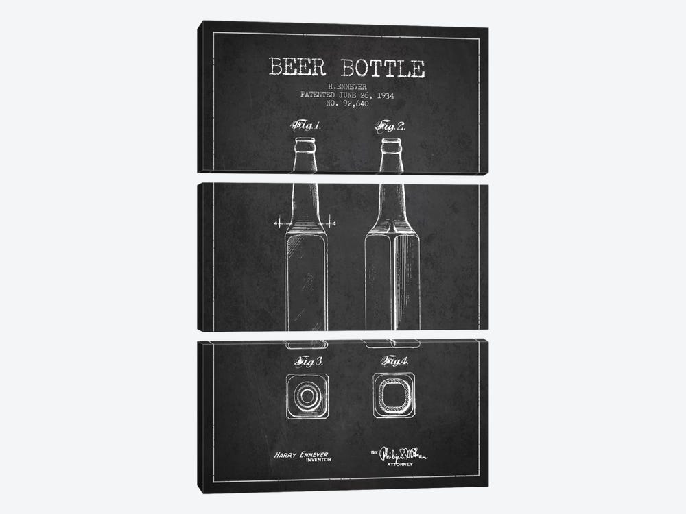Beer Bottle Charcoal Patent Blueprint by Aged Pixel 3-piece Canvas Print