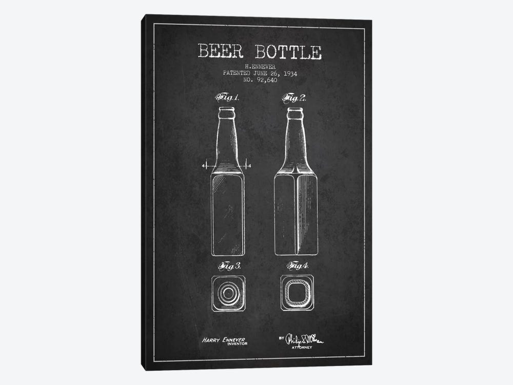 Beer Bottle Charcoal Patent Blueprint by Aged Pixel 1-piece Art Print
