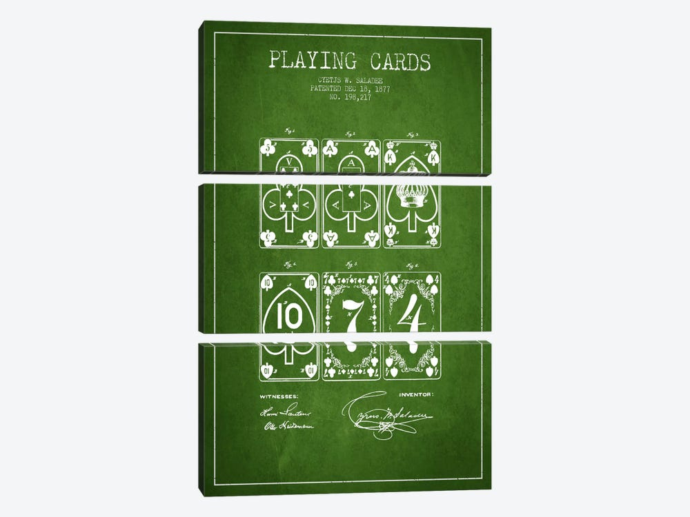 Saladee Cards Green Patent Blueprint by Aged Pixel 3-piece Canvas Artwork