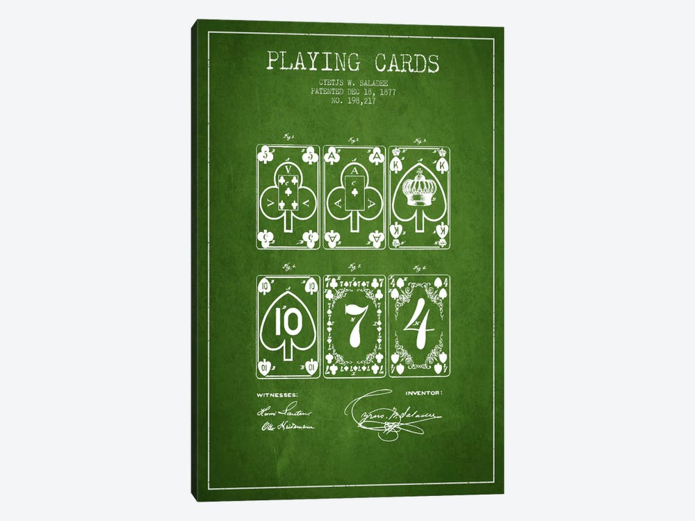 Saladee Cards Green Patent Blueprint by Aged Pixel 1-piece Canvas Art