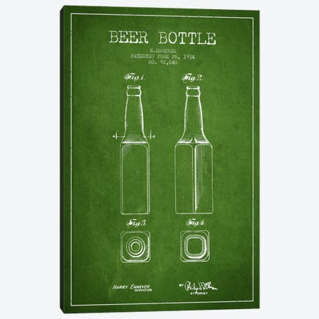 Beer Bottle Green Patent Blueprint Canvas Print #ADP680} by Aged Pixel Canvas Print