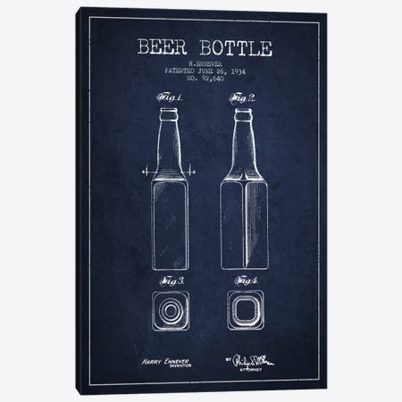 Beer Bottle Navy Blue Patent Blueprint Canvas Print #ADP681} by Aged Pixel Canvas Art Print
