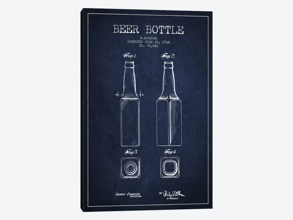 Beer Bottle Navy Blue Patent Blueprint by Aged Pixel 1-piece Canvas Wall Art