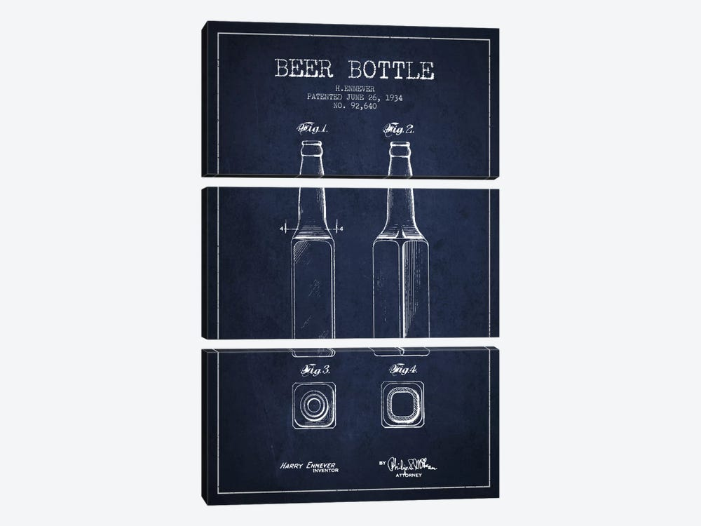 Beer Bottle Navy Blue Patent Blueprint by Aged Pixel 3-piece Canvas Artwork