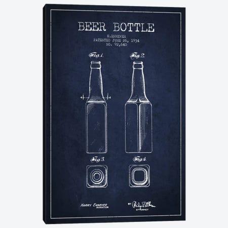 Beer Bottle Navy Blue Patent Blueprint Canvas Print #ADP681} by Aged Pixel Canvas Art Print