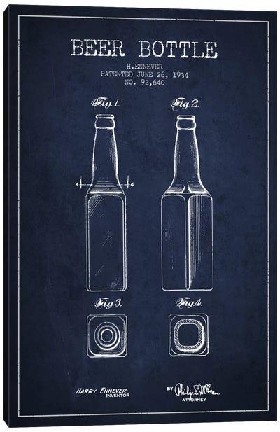 Beer Bottle Navy Blue Patent Blueprint Canvas Art Print