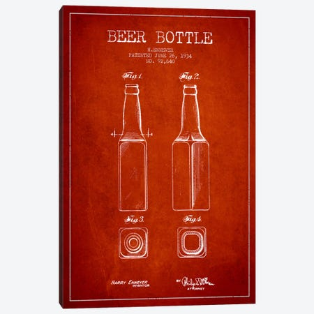 Beer Bottle Red Patent Blueprint Canvas Print #ADP682} by Aged Pixel Art Print