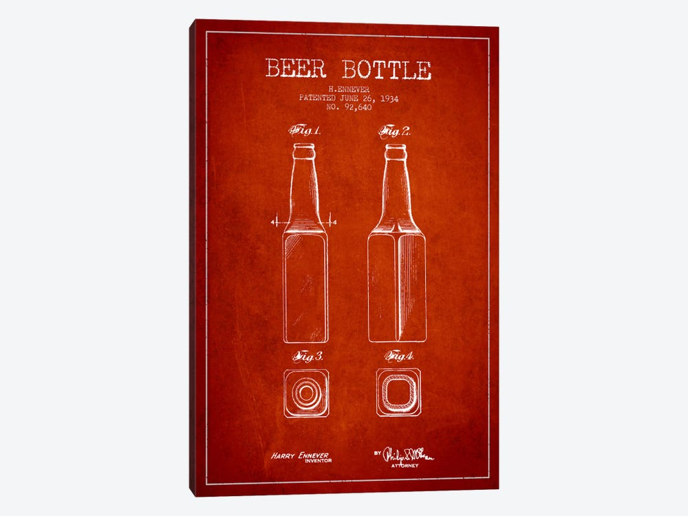 Beer Bottle Red Patent Blueprint by Aged Pixel 1-piece Art Print