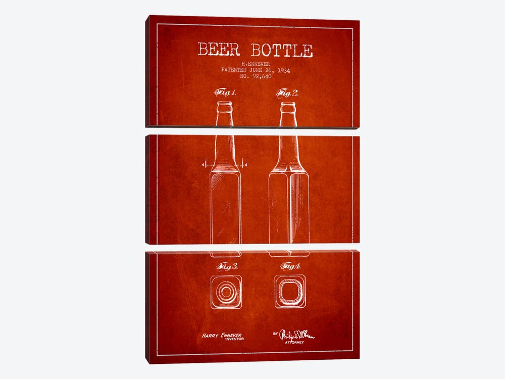 Beer Bottle Red Patent Blueprint by Aged Pixel 3-piece Art Print