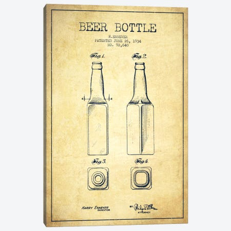 Beer Bottle Vintage Patent Blueprint Canvas Print #ADP683} by Aged Pixel Canvas Print