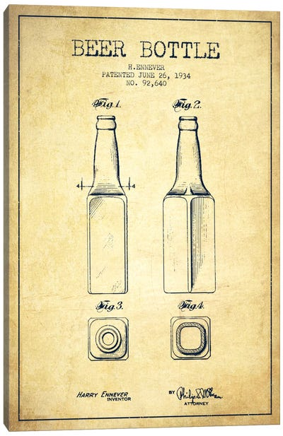 Beer Bottle Vintage Patent Blueprint Canvas Art Print