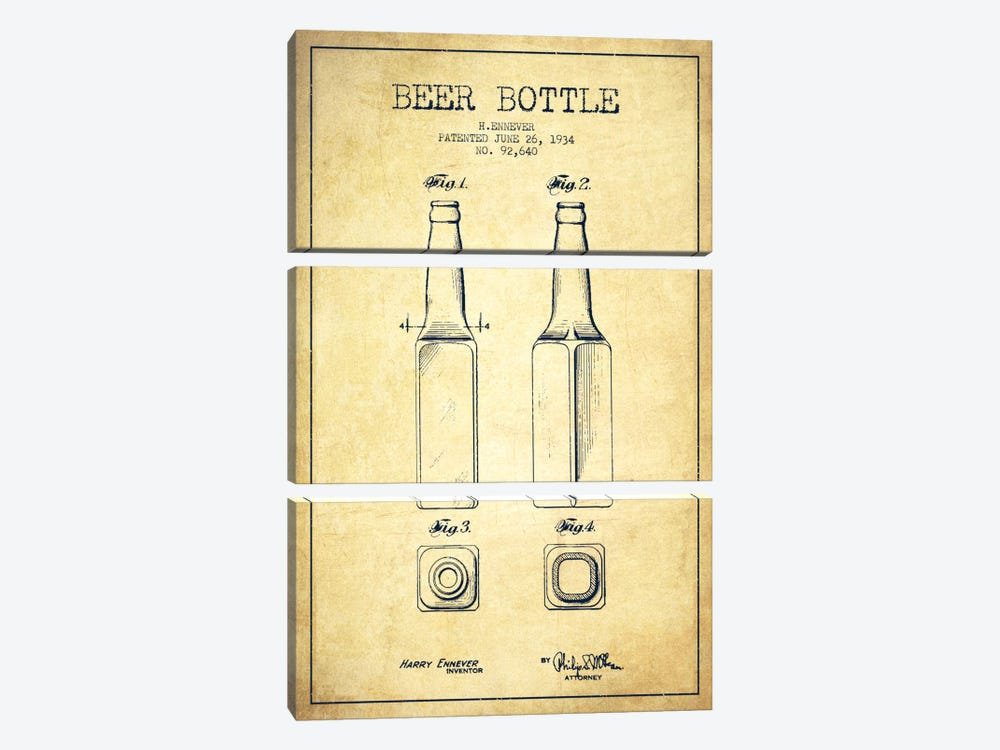 Beer Bottle Vintage Patent Blueprint by Aged Pixel 3-piece Canvas Art