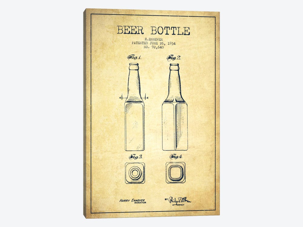 Beer Bottle Vintage Patent Blueprint by Aged Pixel 1-piece Canvas Wall Art