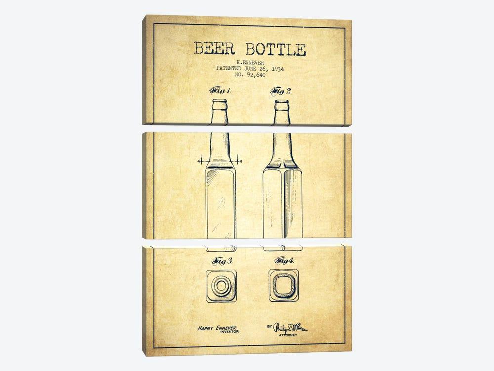 Beer Bottle Vintage Patent Blueprint by Aged Pixel 3-piece Canvas Art